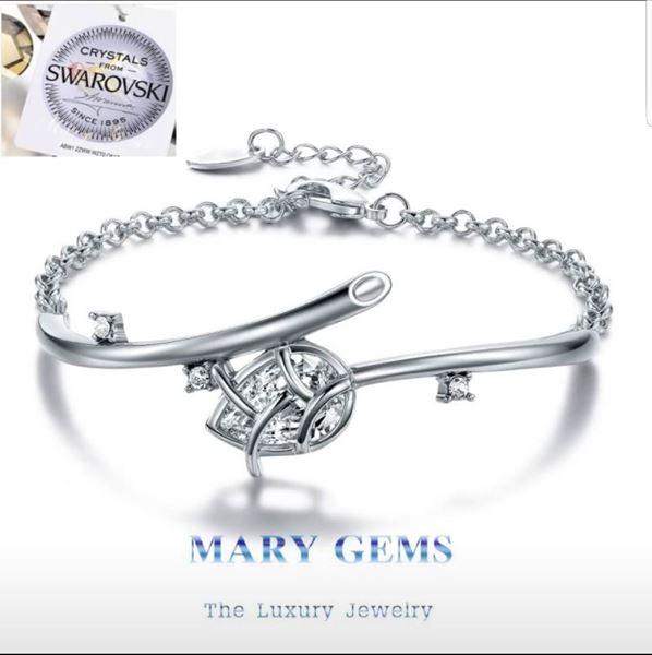 Picture of Bracelet Crystal Lotus Flower Platinum